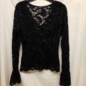 Moda International Black Lace Bell Sleeve Blouse